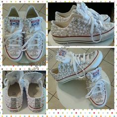 Custom Pearls and Rhinestone Converse by KlutteredKicks on Etsy, $155.00