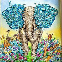WEBSTA @ issa_bella03 - Imagimorphia version with background #imagimorphia #kerbyrosanes #fabercastell #animorphia #coloringforadults #sztukakolorowania #kolorowankadladoroslych #creativelycoloring #relax #arttherapy #color #colorindolivrostop #bayan_boyan #colorindolivrostop #elefant