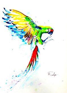 Loros - aves - Guacamayo militar - acuarela pintura - la pintura Fine Art Print - acuarela arte impresión 8 x 10