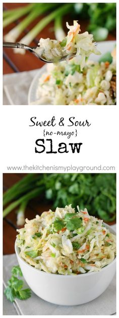 Sweet & Sour Slaw ~ a tangy, crunchy, & delicious no-mayo slaw you will love! www.thekitchenismyplayground.com: