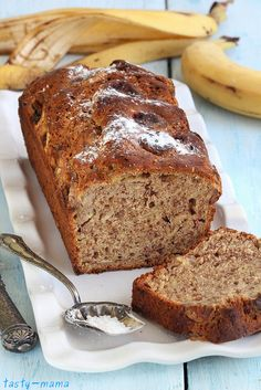 Nuts banana bread: Recipe (in Russian) and photo by Olga Shenkerman Banana Bread Ingredients, Vegan Banana Bread, Tasty, Yummy Food, Russian Recipes, Bread Recipes, Baking, Desserts, Key Ingredient
