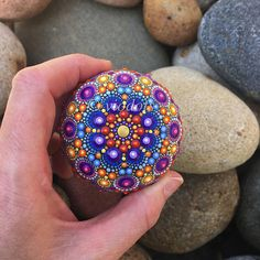 Mandala Stone hand painted dot painting