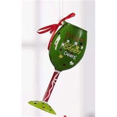 this funny wine glass ornament is completely painted and says cheers deers great for your