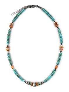Find a turquoise and spiny oyster shell bead necklace at Southwest Silver Gallery today! We have a large selection of Navajo jewelry and Native American necklaces to choose from! Turquoise Stone, Turquoise Jewelry, Silver Beads, Silver Jewelry, Navajo Jewelry, Bead Necklaces, Native American Jewelry, Oysters, Shells