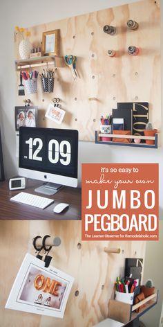 DIY Oversized Jumbo Pegboard From Plywood @Remodelaholic
