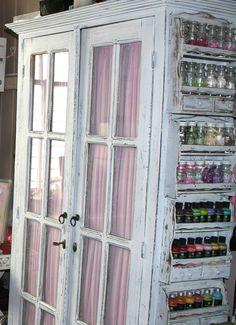 Spice racks and  jars- organize your beads, scrapbook eyelets and other doo-dads as well as paints, glitter, buttons...then stash the big crafty stuff in the cabinet and out of sight.