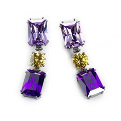 Pendientes Color Violeta, Lilac, Stud Earrings, Jewels