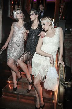 Featuring The Icon in Silver and Bone.plus the Artist Gown in Jet Black mode Featuring The Icon in Silver and Bone.plus the Artist Gown in Jet Black Roaring 20s Fashion, Roaring 20s Party, Gatsby Themed Party, Great Gatsby Fashion, The Great Gatsby, 1920s Fashion Gatsby, Look Gatsby, Gatsby Style, Flapper Style