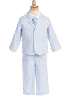c22dd2164a0 4 - Piece Cotton Seersucker Boy s Suit - Blue at DapperLads Seersucker  Pants