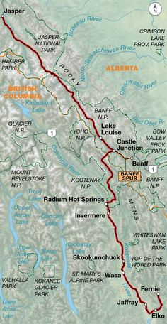 An Adventure Cycling bicycle route traveling through the western National Parks from Jasper, Alberta, to Durango, Colorado. Jasper National Park, Banff National Park, National Parks, Glacier Lake, Canada Travel, Biking, Maps, Travel Tips, Cycling