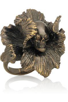Alexander McQueen / Swarovski crystal iris and skull ring