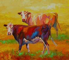 Great Big Canvas Two Cows by Marion Rose Painting Print on Wrapped Canvas Size: H x W x D, Format: Black Framed Print Cow Canvas, Canvas Art, Canvas Prints, Framed Prints, Canvas Size, Cow Painting, Painting Prints, Paintings, Art Print
