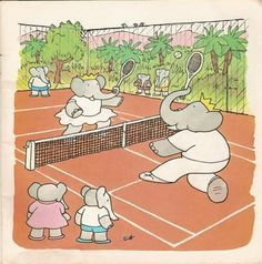 Image result for Vintage Babar prints tennis