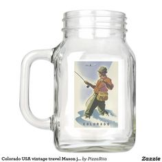 Colorado USA vintage travel Mason jars Mason Jar