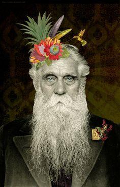 """The Farfar Project. Um segundo olhar da artista April, aka Secondsister. """"Eu comecei um pequeno projeto que estou gostando muito. Me deparei com uma caixa de retratos antigos de homens suecos do..."""
