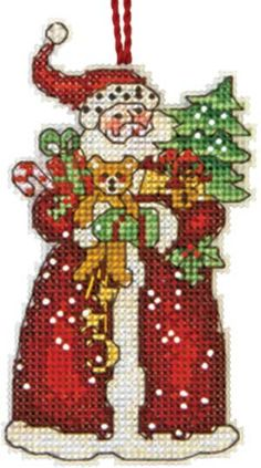 DIMENSIONS-Counted Cross Stitch Ornament. Create your own holiday ornament with this counted cross stitch kit. It includes presorted thread; fourteen count plastic canvas; a needle; and instructions.