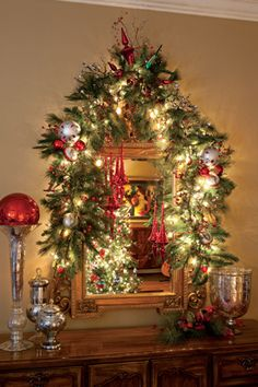 Holiday Greenery: I need to do something like this above the buffet.