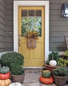 "I'm really enjoying this gold door. Sometimes I call it mustard, sometimes yellow but the real name is ""Leap of Faith"" by Benjamin Moore. Yellow House Exterior, Exterior Door Colors, Grey Exterior, House Paint Exterior, Exterior Doors, Exterior Design, Yellow Front Doors, Painted Front Doors, Front Door Colors"