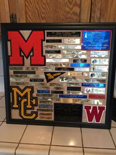 Made this for my husband. Took plaques off of his old trophies and his high school letters, put it on burlap and framed it! Love how it turned out. Old Trophies, Trophies And Medals, Sports Trophies, Displaying Trophies, Trophy Display, Award Display, Plate Display, Trophy Plaques, Award Plaques