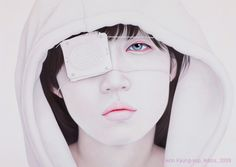Kwon Kyung-yup's paitings portray an aesthetically muted world, the color palate intentionally restricted. Her subjects are portrayed almost as saints...