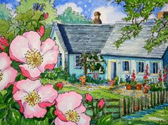 Where the Wild Rose Grows Storybook Cottage series 4.5 by 6 inch print from Original Watercolor painting