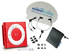 Waterproof Apple iPod Shuffle by AudioFlood with True Short Cord Headphones - Highest Rated Waterproof Player on (Blue) Tvs, Radios, Waterproof Headphones, Pink Apple, Cassette, Audio Player, Fitness Gifts, Fun Workouts, Smartphone