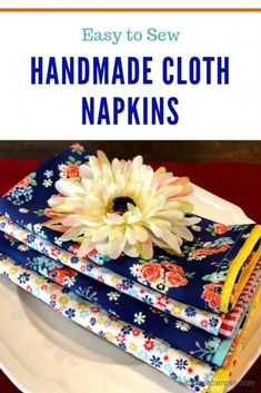 Sew Handmade Cloth Napkins Easy Sewing Projects, Sewing Projects For Beginners, Sewing Hacks, Sewing Tutorials, Sewing Crafts, Sewing Tips, Sewing Ideas, Yarn Crafts, Crochet Projects