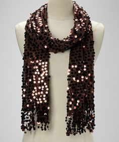 Take a look at this Brown Sequin Scarf by Raj Imports on #zulily today!