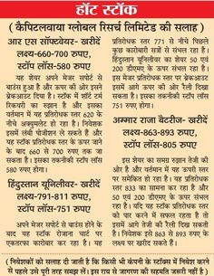 Date of Coverage Appeared: 07-01-2015 Publication: Dainik Jagran Headline: Hot Stock Edition: Indore & Bhopal Language: Hindi Page No.: 9