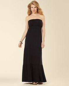 Soma Intimates Tiered Bandeau Maxi Dress Black #somaintimates