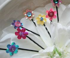 Sequin Flower Hair Pins - Adorable - set of 12 assorted colors - pink, blue, yellow, purple, orange - Girls, Tweens, Teens on Etsy, $15.00