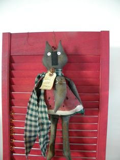 Primitive Doll Watermelon Kitty 19inches Hand by PrimitiveHart, $24.99