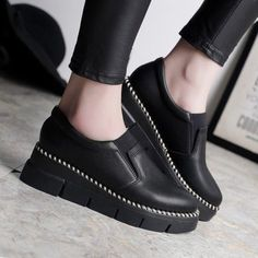 Fashion Round Toe Slip On Wedge Platform Womens Loafers Casual Shoes Creepers