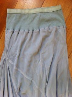 BEAUTIFUL RICK OWENS SILK PEARL GRAY SKIRT | silk skirt, elastic waist