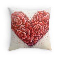 Love rose petals heart illustration home decoration art printed cushion by Melanie Dann