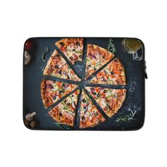 This lightweight, form-fitting Pizza 3007395 Laptop Sleeve is a must-have for any laptop owner on the go. Hat Embroidery Machine, Sleeve Designs, Laptop Case, Order Prints, Laptop Sleeves, Biodegradable Products, Bubbles, Pizza