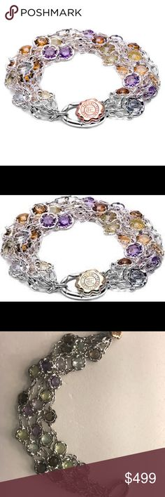 Tacori 18k925 Bracelet Colorful Medley BEAUTFUL Faceted candy-drop gems in saffron Lemon Quartz, honeyed Cognac Quartz, seafoam Prasiolite, Smokey Quartz and deep Rose Amethyst flutter in pronged blossom kaleidoscope circlets, fastened into strands of luxe swoops of .925 silver with an 18k gold Tacori seal toggle. Excellent condition! Comes with generic pouch. Tacori Jewelry Bracelets