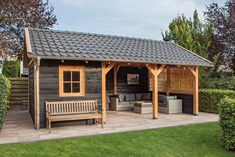pavillion garten luxury roof with gable roof. By using . - pavilion garden Luxury roof with gable roof. By using black chalk and larch …, - Backyard Storage Sheds, Backyard Sheds, Backyard Patio Designs, Outdoor Sheds, Backyard Landscaping, Pool Shed, Outdoor Glider, Patio Grande, Pavillion