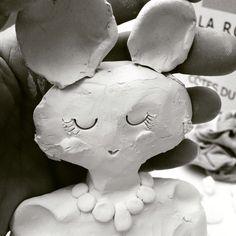 Clairepaveley ceramics girls as animals girl with animal ears workinprogress