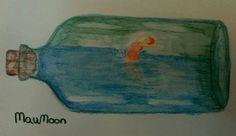 Nadadora encerrada   Acuarela