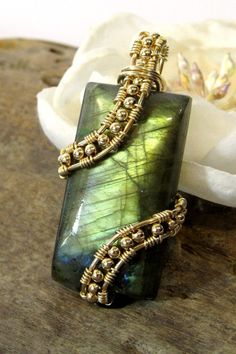 Labradorite Pendant Handmade Wire Wrapped by BellaDivaBeads