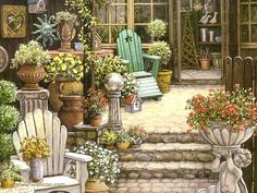 Gardens and Florals : Romantic Realistic Paintings by Janet Kruskamp  - Miss Trawick's Garden Shop  - Romantic Paintings of Courtyard Scene  5