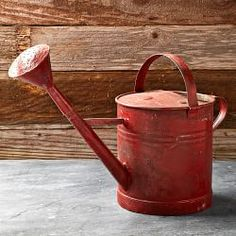 """Vintage Painted Watering Can- Wiiliams Sonoma """"agrarian"""" Milk Can Decor, Canning Supplies, Red Cottage, Decoupage, Milk Cans, Garden Shop, Indoor Planters, Cooking Utensils, Garden Tools"""