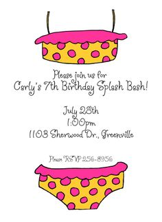 Polka Dot Bikini Invitation A yellow and pink polka-dotted bikini is featured on this party invitation. Personalize with your own event details!