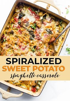 Lighten up a classic home cooked comfort food dish with spiralized sweet potatoes! A simple wholesome gluten free/grain free spaghetti casserole ready in no time. Protein rich and veggie packed. Paleo Recipes, Cooking Recipes, Free Recipes, Dinner Recipes, Paleo Meals, Paleo Dinner, Dinner Ideas, Spaghetti Casserole, Sweet Potato Noodles
