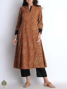 Rust Orange-Black Hand Woven Hand Block Printed Kalamkari Cotton Kurta by Jaypore
