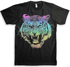Tiger T Shirt 80's Rainbow Design  American by StrangeLoveTees, $24.99