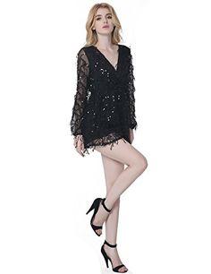 ea70748091b8 Lztlylzt Women s Deep V-neck Sexy Gauze Tassel Sequins Romper Jumpsuit(XL