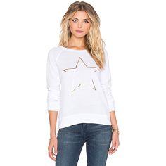SUNDRY Gold Star Basic Raglan Sweatshirt Loungewear (420 ILS) ❤ liked on Polyvore featuring tops, hoodies, sweatshirts, sweatshirts & hoodies, star hoodie, gold sweatshirt, print hoodie, hoodie sweatshirts and pattern hoodie