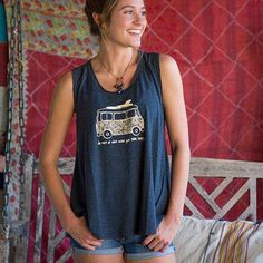 """""""Soul Happy"""" Sleeveless Hangout Tee - This navy sleeveless hangout tee is so cute and comfy! It features the inspiring sentiment, """"Do more of what makes your soul happy"""" with an original surfer van graphic. The raw edge scoop neck and gentle swing adds movement and an incredibly flattering fit!"""